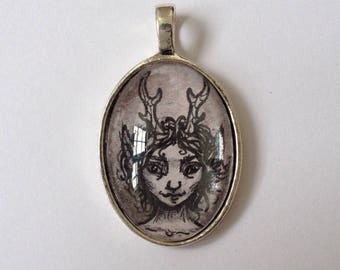 Grey faun handpainted pendant