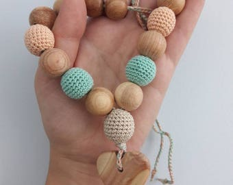 Nursing Necklace Heart - Teething necklace - Mommy necklace - Aroma toy - Breastfeeding - Baby shower gift - Crochet necklace