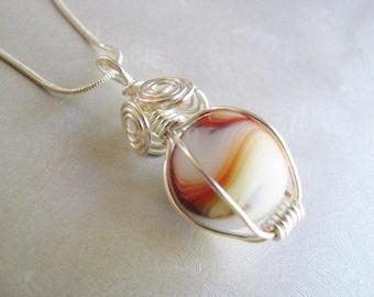 Rare White Sea Glass Marble Pendant - Red, Orange, Green Swirl Sea Glass Pendant - Beach Glass Jewelry -Pure Sea Glass -Prince Edward Island