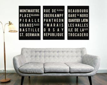 Subway Art - Paris - Typography Print - Modern Art Poster - Set of 3