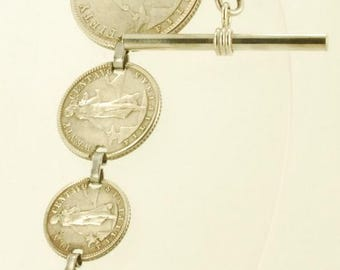 "Vintage 7"" 1944 Philippines Centavos silver coin straight-style pocket watch chain, t-bar finding"