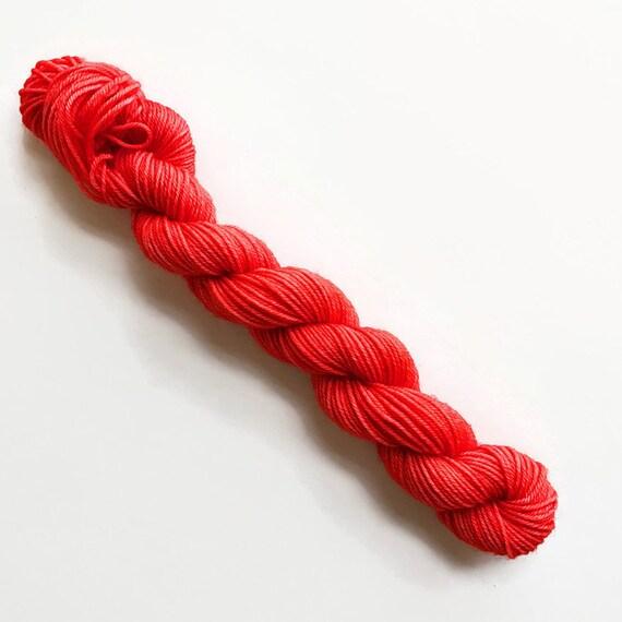 poppy / hand dyed yarn / mini skein / sock fingering yarn / merino wool superwash / knitting embroidery / rich orangish poppy red yarn