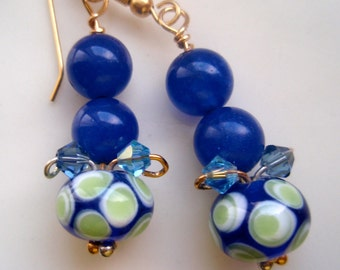 Navy Blue, Teal and Polka Dots of Lime Green Earrings, Blue Earrings, Polka Dot Earrings, Gold Earrings