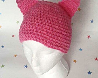 Pussy Cat Hat, Crochet Cat Beanie, Pink Kitty Hat, Crazy Cat Lady, Gift for her, Cat Lover Gift, Ladies Hat, Mothers Day Gift, cutesy,