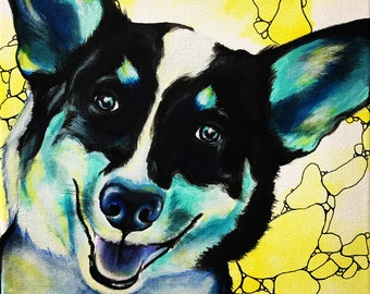Corgi dog pet portrait colorful painting print 8x10 custom artwork gallery wall decor