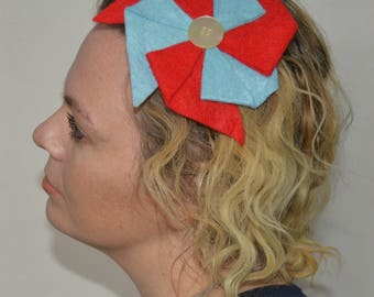 Colorful Pinwheel Headband in Red and Baby Blue - headbands for women - headbands for girls - circus headband