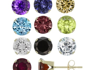 14K Solid Yellow Gold 0.2ct / 3mm Natural Gemstones Stud Earrings ! Top Quality !