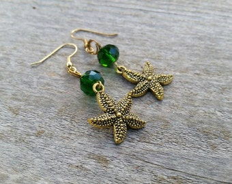 Gold Starfish Charm Earrings with Green Crystal Beads - Green Earrings - Fall Trends - Beach Earrings - Womens Jewelry - clip on available
