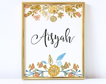 Personalized Sign, Custom Name, Personalized Name, Custom Sign, Digital Printable, Instant Download, Nursery, Wall Art