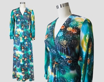 Cosmic Space Floral Long Sleeve Empire Maxi Dress Sz M