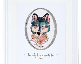 Quelle chance d'être si extraordinairement libre Wolf Art Print