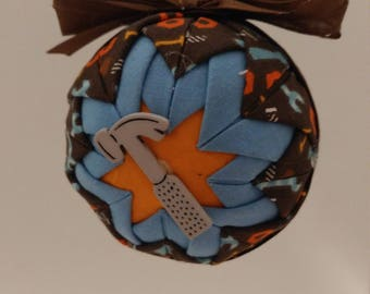 Blue & Orange folded fabric handmade ornament with hammer decoration