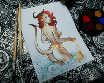 Succubus Pinup with Gold detail Original A5 Painting