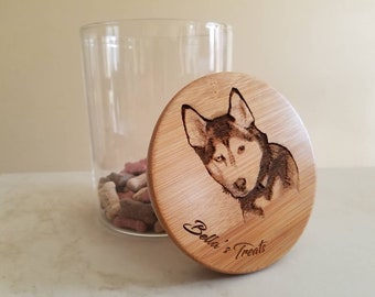 Bamboo Storage - Dog or Cat Treat Box - Kitchen or Bath - Single Canister