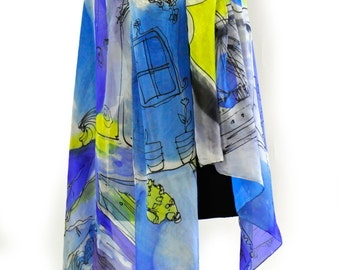 Hand painted silk shawl/Painting abstract shawl/Luxury scarf/Long woman sarong/Shawl in blue and yellow/Painting by hand abstract shawlH0138