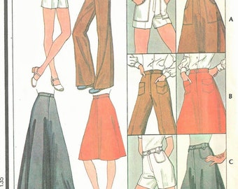 McCall's Pattern 4849 Misses Skirt and Pants or Shorts  Vintage 1970's