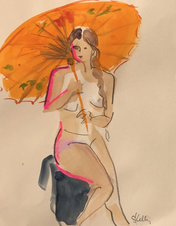 Nude painting- Original watercolor painting of Nude #1490 by Gretchen Kelly