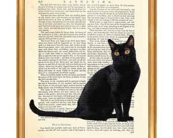 Cat Lover Gift, Black Cat Art, Dictionary Art Print, Black Cat Artwork, Cats Lover Gifts, Cats Art, Cat illustration, Vintage Dictionary Art