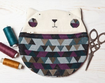 School Supplies, Cat Cosmetics Bag, Geometric Makeup Bag, Cat lover gift, Cat Bag, First Day of School, Cat Purse, Toiletries Bag