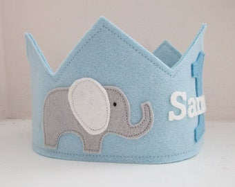 Wool Felt Crown Elephants, Birthday Crown, Elephant Birthday Party,  First Birthday, Personalized, Smash Cake