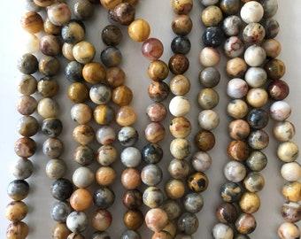 Porcelain Jasper - 8 mm round beads - full strand - 49 beads