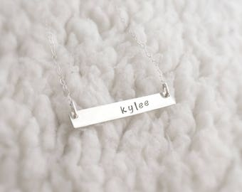 You Are Light (necklace) - Thin and dainty sterling silver bar necklace with your personalized word
