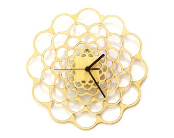 Coral - unique modern wooden wall clock made using plywood, laser cut