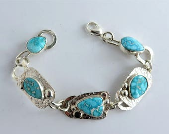Whitewater Turquoise Sterling Link Bracelet