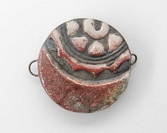 Connector, pendant, Raku ceramic, round, red, 1 X