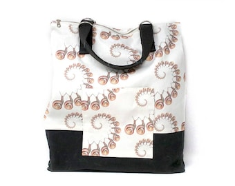 SNAIL SNAIL Convertible Tote/Backpack | Gold, White, & Gray Wax Canvas | A Portion of Proceeds go to Charity
