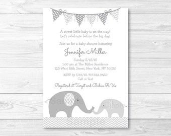 Cute Elephant Baby Shower Invitation / Elephant Baby Shower Invite / Chevron Pattern / Grey & White / Gender Neutral / PRINTABLE A144
