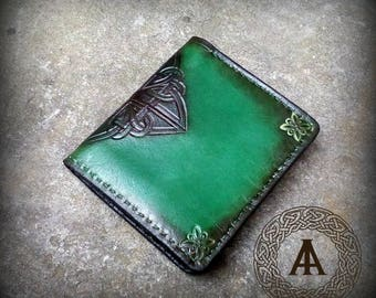 Green Leather Celtic Wallet
