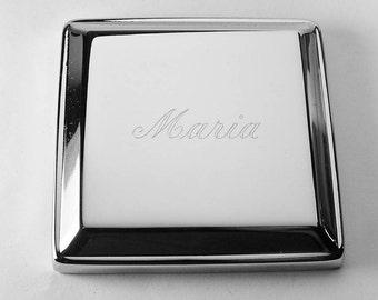 Custom Engraved Jewelry Box High Polish Square Silver Trinket Box - Hand Engraved