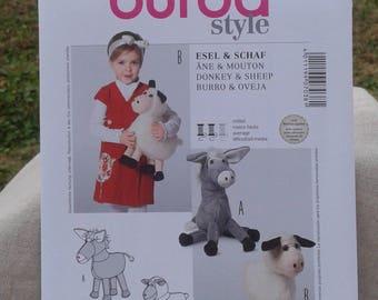 Child's Stuffed Donkey & Sheep - Stuffed Toy Animals - Burda Sewing Pattern 7038