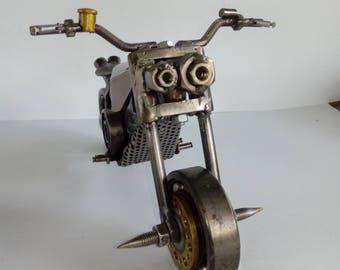 recycled scrap metal motorbike-metal motorbike-metal sculpture
