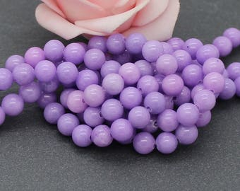 20 6 mm purple PEJ150 Mashan jade beads