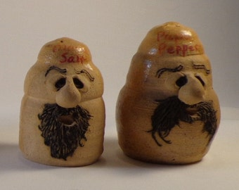 A Homely Unique Salt and Pepper Set Mama and Papa