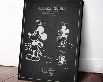 1930 Mickey Mouse Patent, Mickey Mouse Poster, Mickey Mouse Print, Mickey Mouse Canvas, Home Decor, Gift Idea, GT08