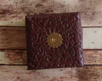 Square Burgundy Floral Box, Tarot Card Box, Candle Box, Wood Carved Box