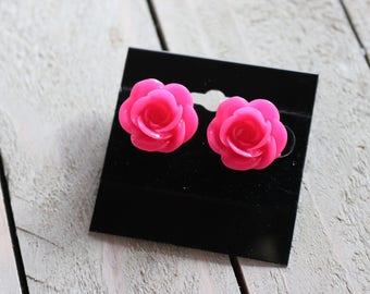 Hot Pink Rose Stud Earrings/Rose/ Hot Pink
