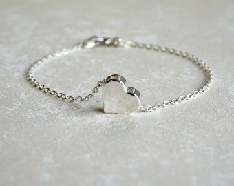 Silver Heart Bracelet, Dainty Jewelry, Flower Girl, Wedding, Mothers Day Delicate, Best Friend, Birthday Gift, Thank You, Sister, Bridesmaid