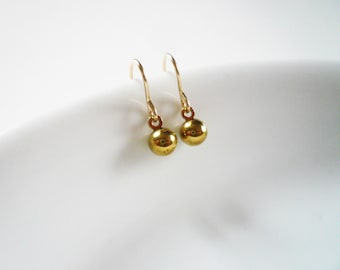 Tiny Gold Ball Earrings in Gold Filled and Vintage Brass - Tiny Everyday Earrings