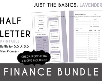 Half Letter [5.5 x 8.5] FINANCE Bundle  Check Register, Monthly Budget, Debt Payoff Tracker, Debtor Contacts Passwords PDF - Lavender