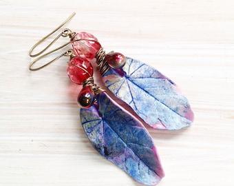 Paradise leaves - polymer clay leaf earrings - artisan earrings -purple and pink leaves