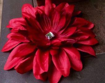 Red, large silk flower hair clip