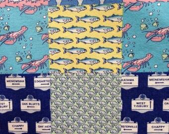 "ocean patchwork cotton fabric square ~ 8"" x 8"" ~ vineyard vines"