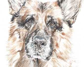 Custom Pet Portrait - A5 Watercolour Dog Portrait - Pet Memorial Gift - Gift for Dog Owner -Gift for Pet Owner - ONE Dog