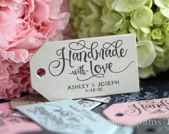 Wedding Favor Tags Handmade with Love - Custom Personalized Names & Date Tags Perfect for S'mores, Cookies, Candy, Sweets Tags Bulk Listing