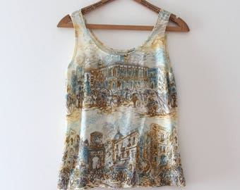 vintage 1970s scenic streets of Europe tank top
