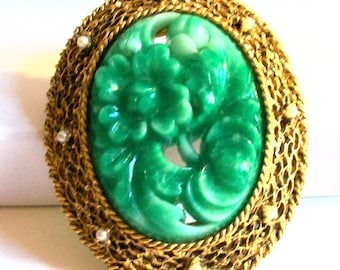 Vintage Unsigned Hobe Green Peking Glass Floral Brooch Pendant Faux Jade Flower Pin Collectible Jewelry